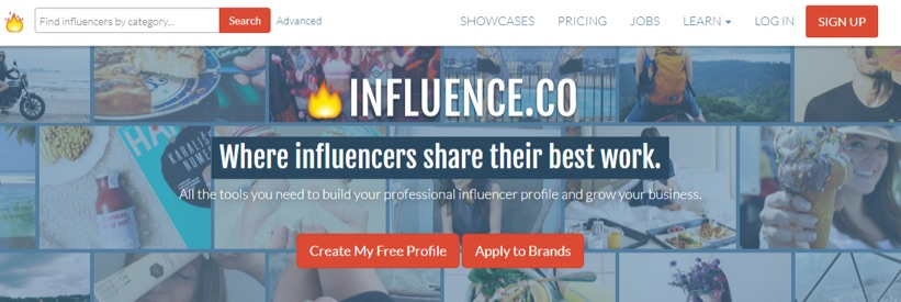 influence.co homepage in 2018