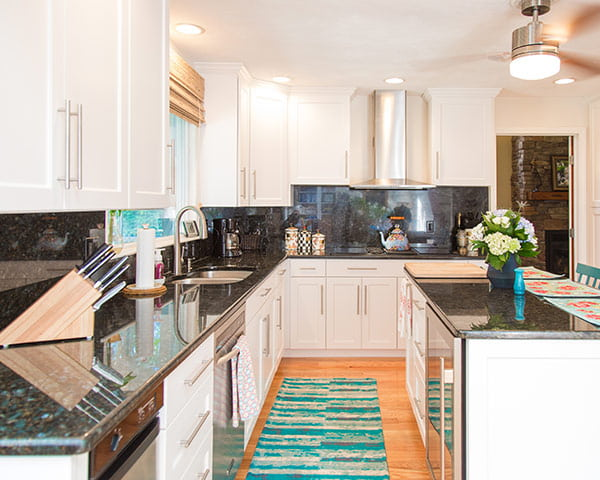 white kitchen countertops colorful appliances what countertop color looks best with cabinets blue pearl granite