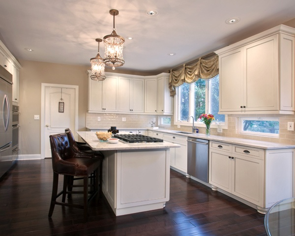 white kitchen floor upholstered chairs with casters pros cons of hardwood flooring in the floors