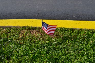 Small American Flag decoration on Veterans Day