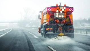 Orange Salt Truck
