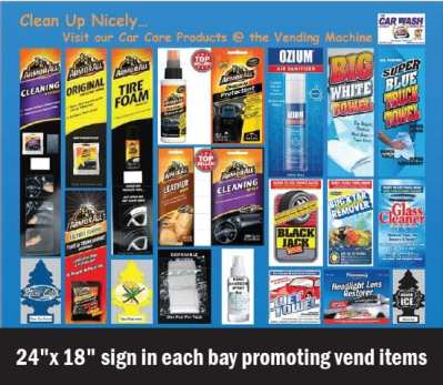 Sign with vending products
