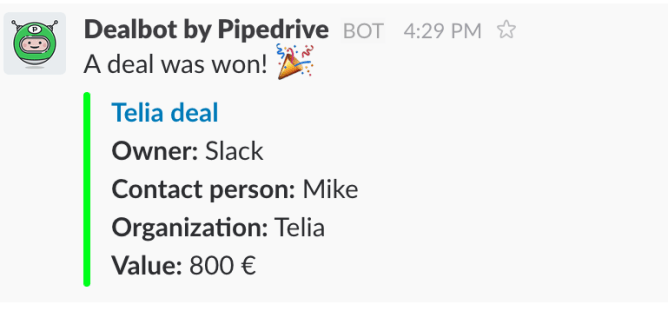 dealbot slack integration