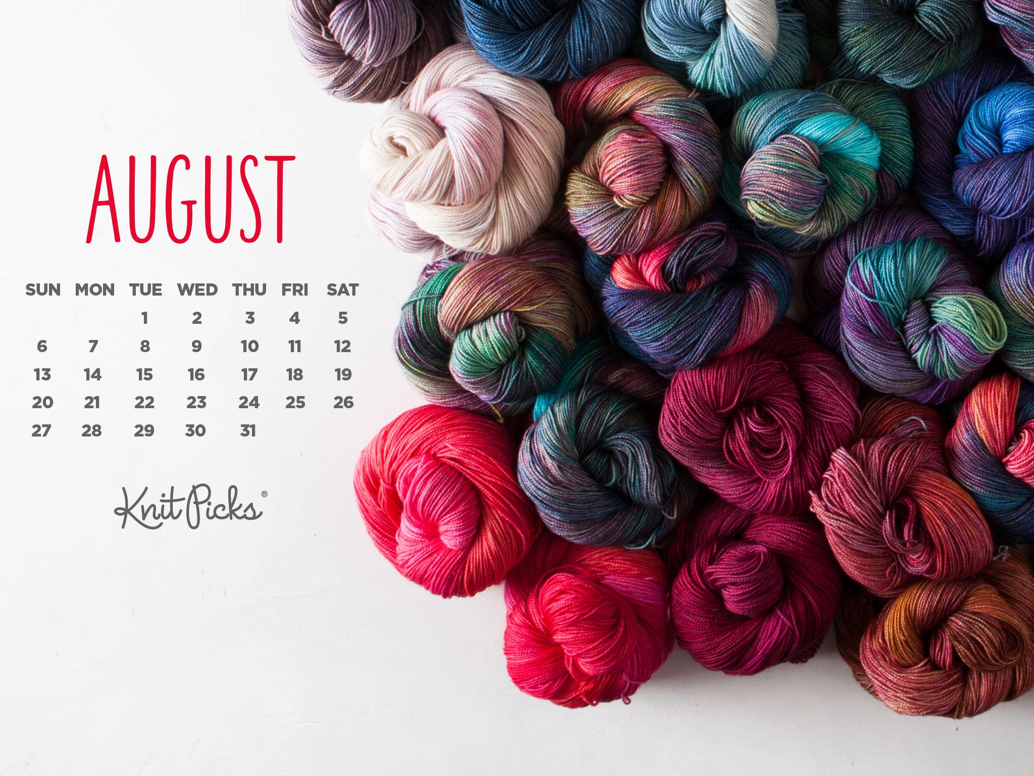 Free Downloadable August Calendar KnitPicks Staff