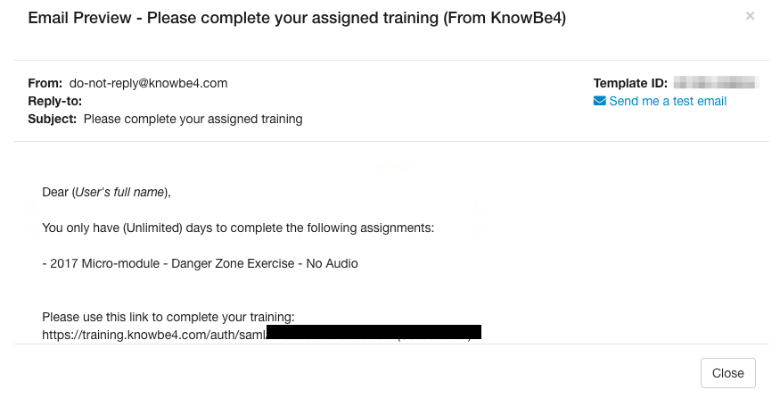 [THIS IS NOT A DRILL] KB4 Training Template Used As