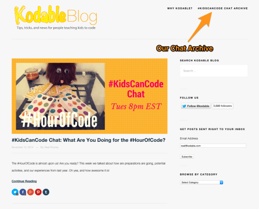 Our #KidsCanCode Chat Archive