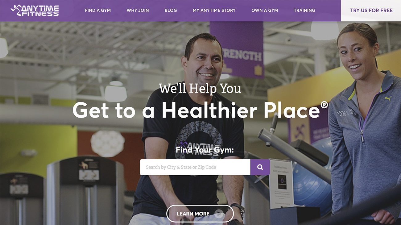 Página web de Anytime Fitness