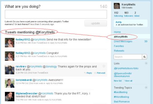 Tweets Mentioning Username Screen