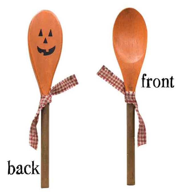 wooden jack-o-lantern spoon