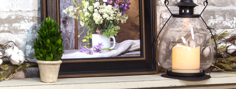 cozy farmhouse mantel