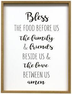 bless the food prayer print