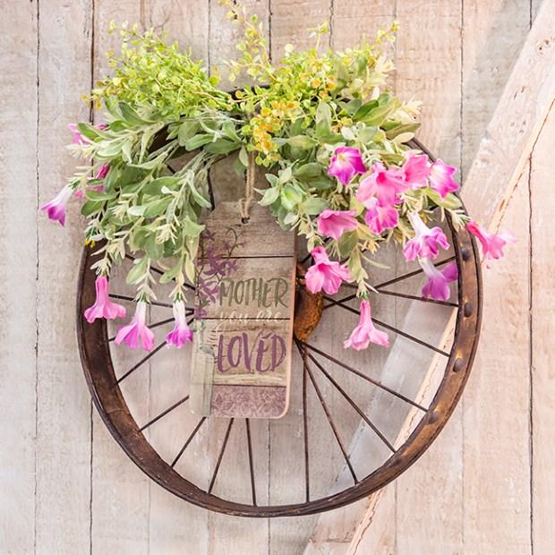 petunia bike wheel wreath for mom