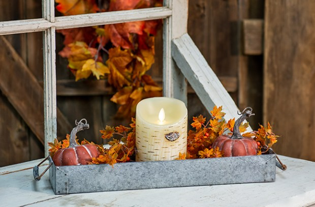 galvanized tray centerpiece for fall