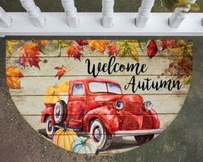 welcome autumn door mat
