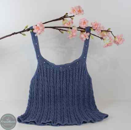 strickanleitung für ein blaues sommer oberteil