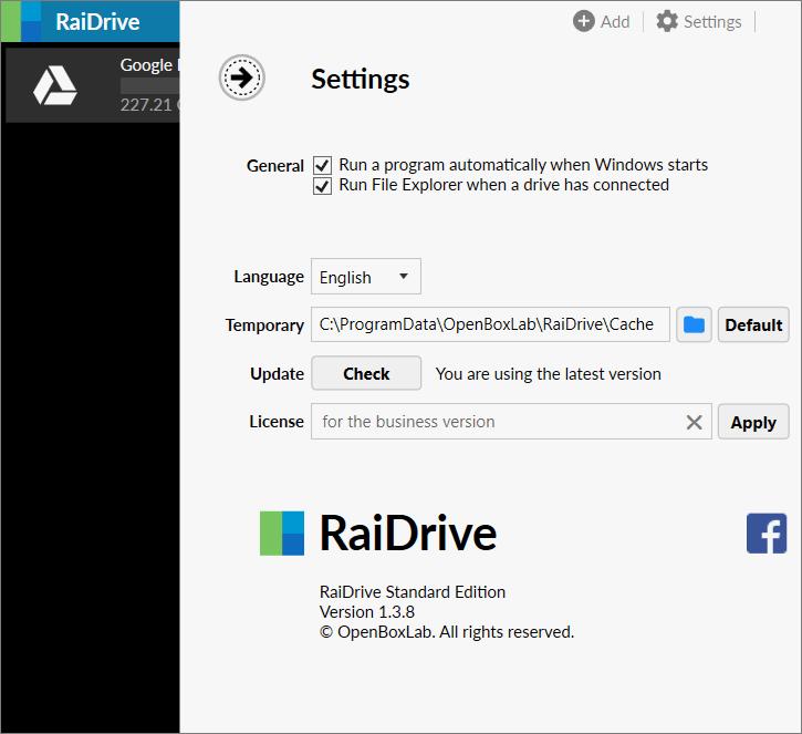 RaiDrive 設定