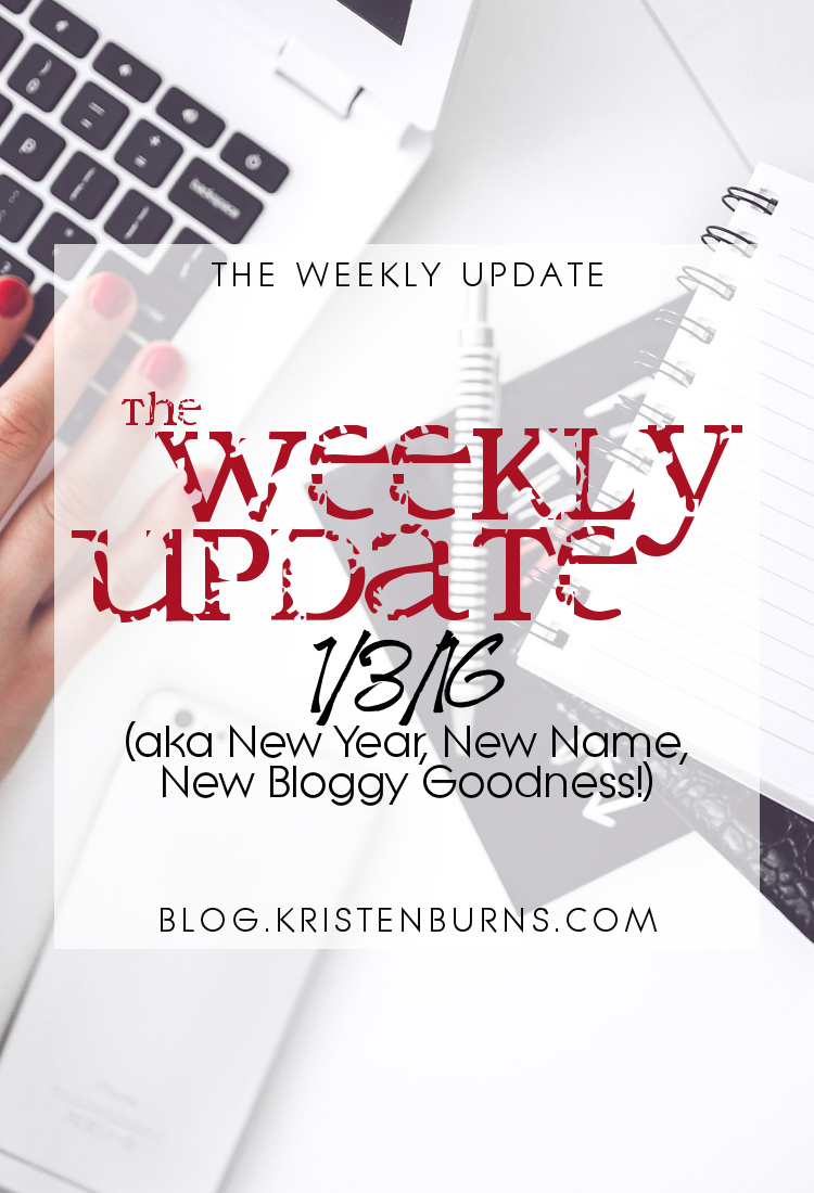 The Weekly Update: 1-3-16 (aka New Year, New Name, New Bloggy Goodness!)