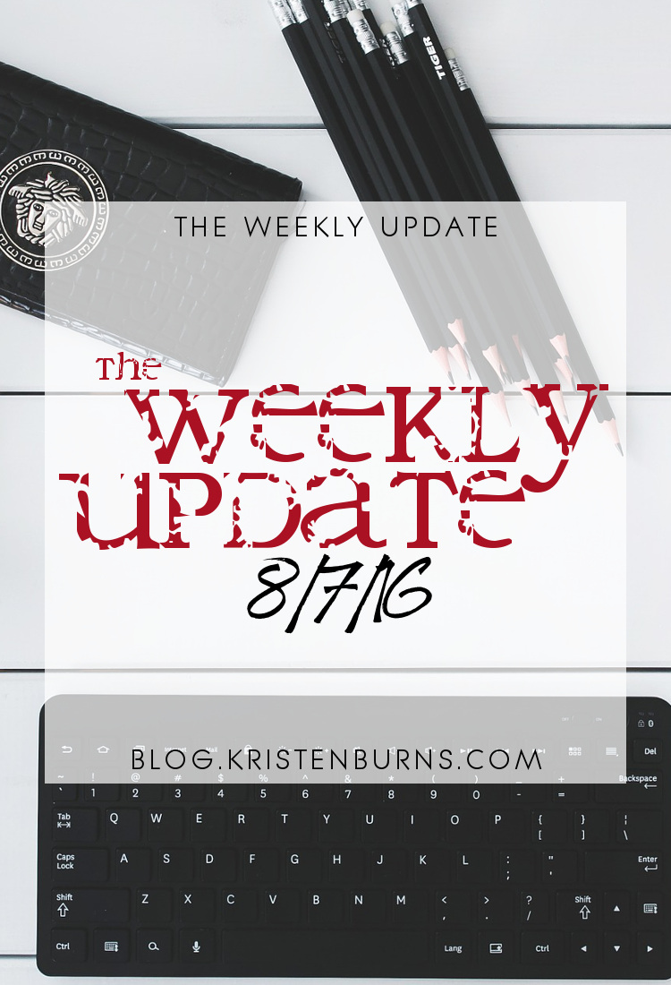 The Weekly Update: 8-7-16   reading, blogging, books