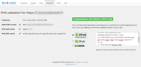 Test de l'accessibilité IPv6 d'un site