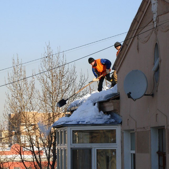 At roofs cleaning (На уборке крыш)