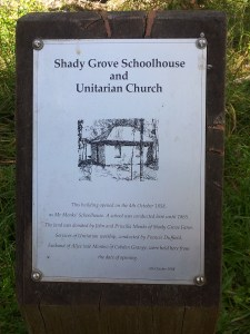 Shady Grove Schoolhouse Information Sign