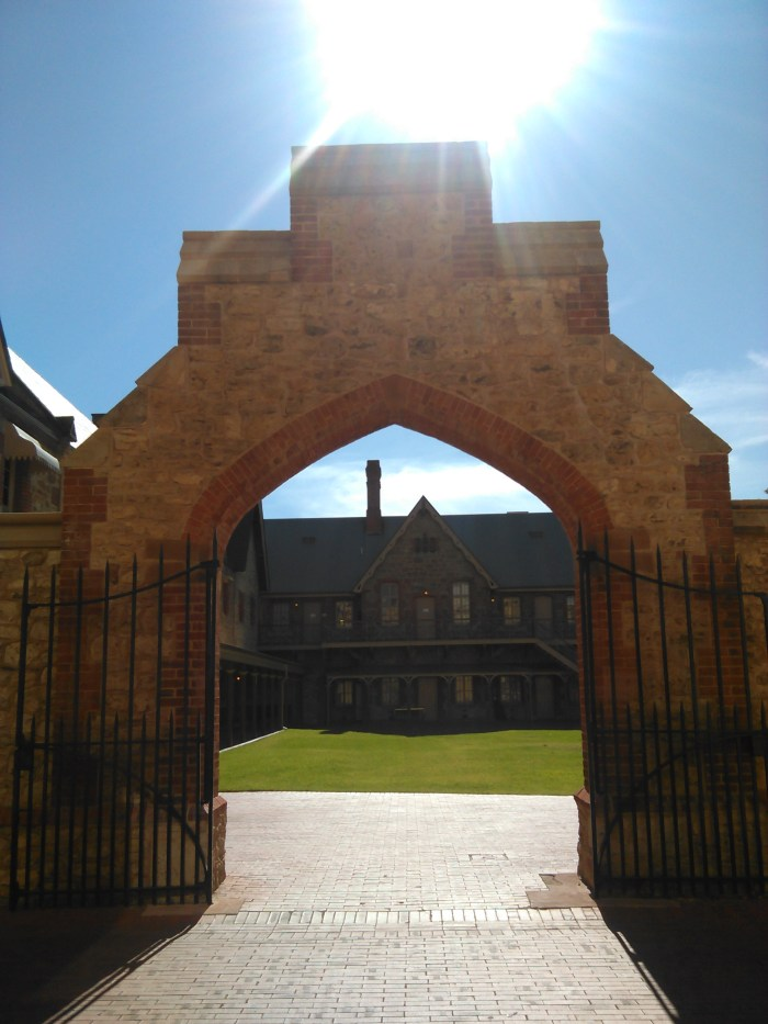 Large iron swing entrance gate
