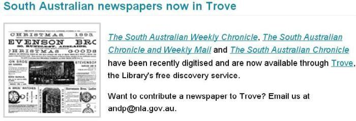 South Australian Newspapers In Trove