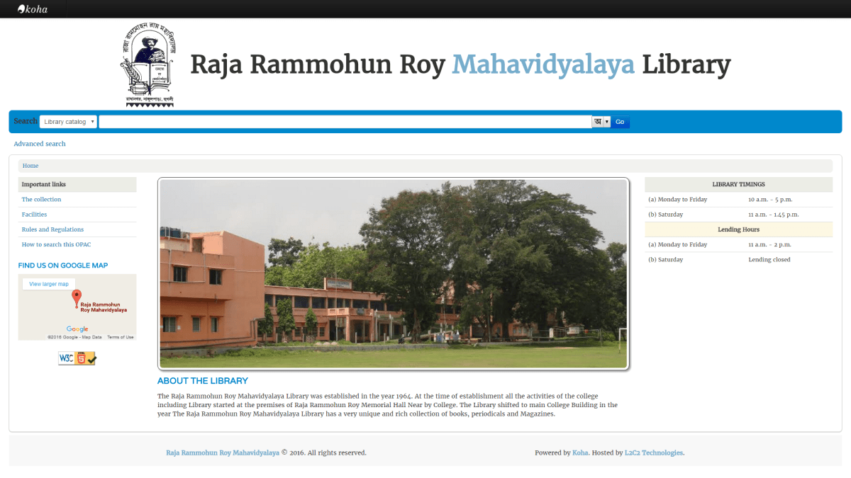 Raja Rammohun Roy Mahavidyalaya partners with L2C2 Technologies to take their library online.