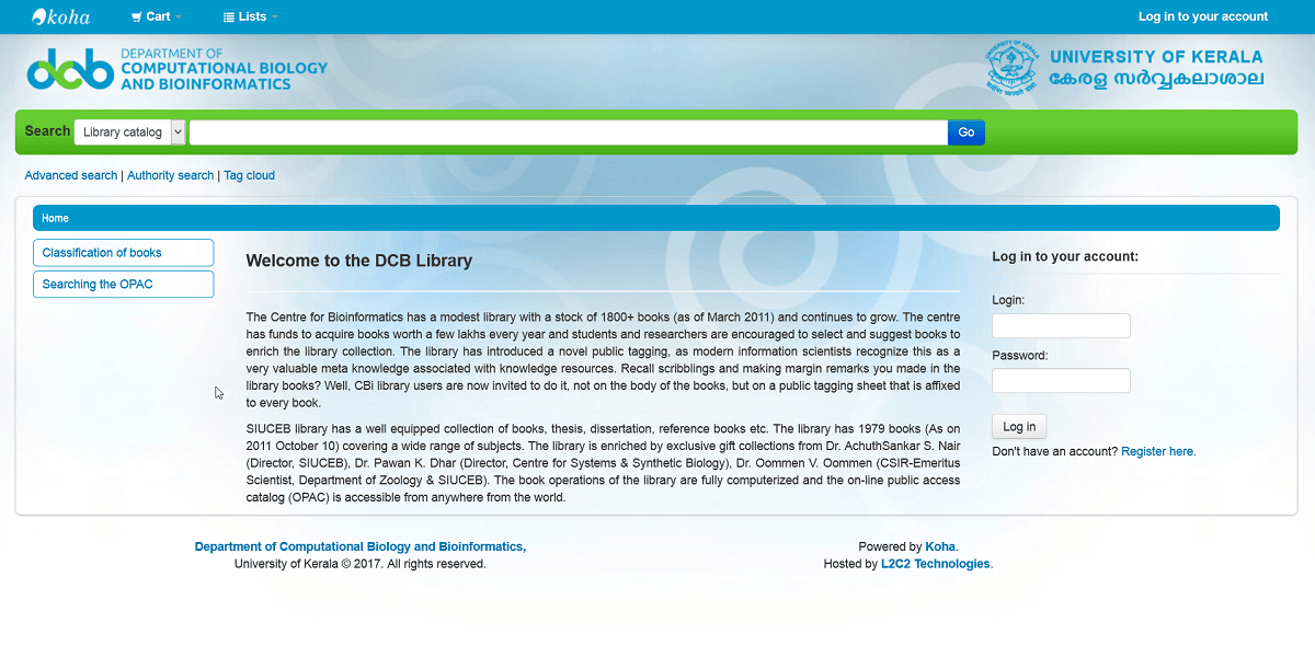 DCB & BI Library, University of Kerala chooses L2C2 Technologies' Koha hosting service