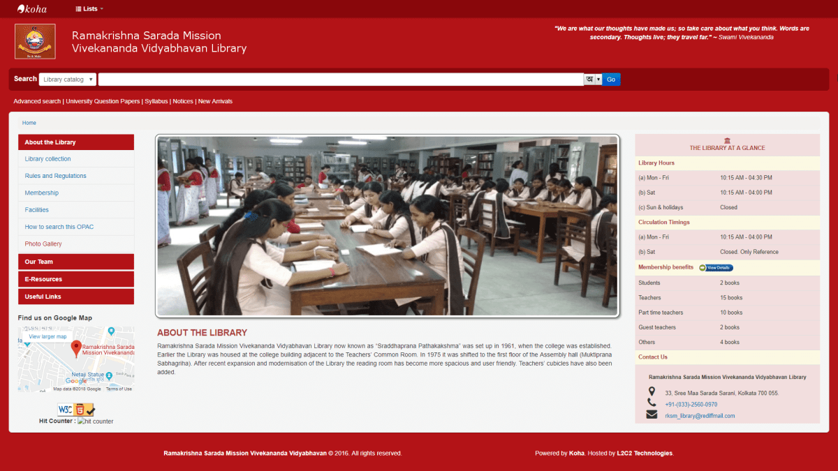 Ramakrishna Sarada Mission Vivekananda Vidyabhavan moves to L2C2's cloud based Koha platform