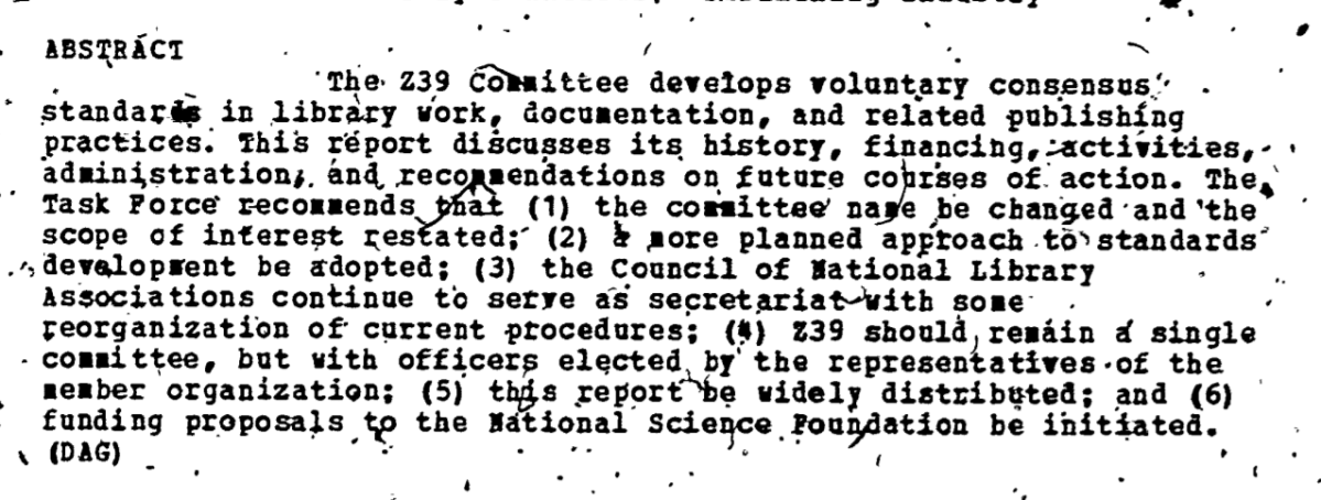 Source : Task Force on American National Standards Committee Z39: Activities and Future Directions, 1976.