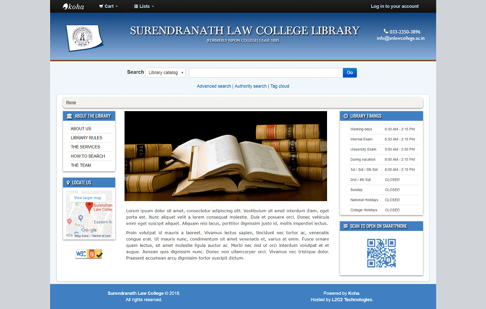 Surendranath Law College partners with L2C2 Technologies to automate their library
