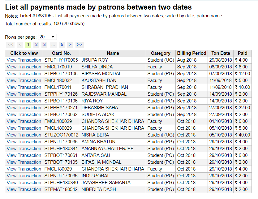 All payments in a date range with quick transaction view