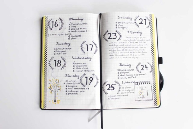 page semaine bullet journal