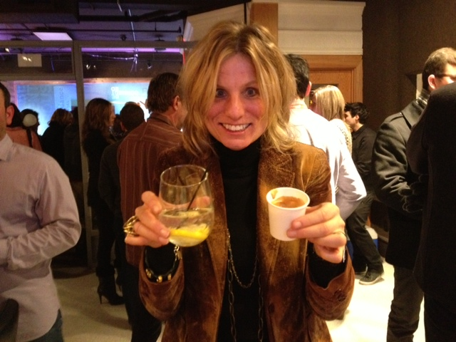 "Laura from Sundance productions enjoying her macchiato and vodka tonic at the same time. At the Sundance Channel ""Rectify"" party"
