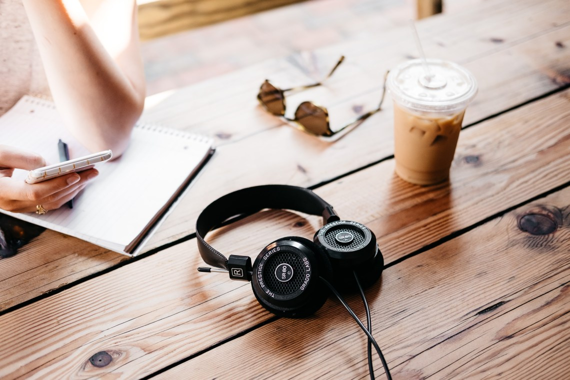 Grado SR80e Headphones on Summer Wooden Tables