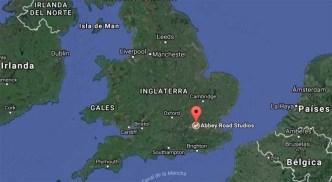 Localización de los estudios de Abbey Road en el mapa de Inglaterra.