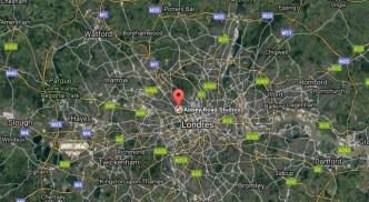Localización en el mapa de Londres