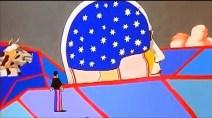 """Lucy in the sky with diamonds. Ya hice una pequeña introducción a esta parte de la película en el artículo sobre el Anthology. El propio George Martin nos contaba –teniendo muchísimo cuidado de no decirlo directamente, pues eso habría chocado con lo que siempre se había intentado negar –que John había estado bajo la influencia del LSD cuando compuso esta canción. Según él y John, """"alguien"""" (sabremos quién en el artículo de La gran conspiración) le suministró la droga sin él saberlo, de manera que comenzó a sentirse muy mal y Martin le ofreció subir al tejado para que le diera el aire. Una vez allí, John se quedó asombrado y maravillado por la hermosa noche estrellada que veía sobre su cabeza. Mientras se cuenta esta anécdota, está sonando por detrás Lucy in the Sky with diamonds. Esta imagen plagada de estrellas es la que recupera John ahora, momento en que sonará esta canción. Es interesante que nos hagan creer que ninguno de los Beatles (ni John) había participado en absoluto en la película. Minoff no podía saber la anécdota del LSD, pues fue algo que se hizo público muchos años después. De hecho, no fue hasta el Anthology que se reconoció la influencia de la droga en la canción. Esto sólo podía saberlo John… Igual que es absolutamente imposible que Minoff y el resto del equipo fueran capaces de representar de una forma tan perfecta los efectos que el ácido tendría en la mente de John."""