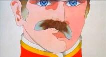 El Sargento Pimienta moviendo el bigote… ¿tal vez falso? Además, en esta ocasión se ha cambiado el color de los ojos, verde al principio y azul ahora.