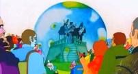 El primer ataque es, precisamente, contra la banda que toca en el escenario… Envolviéndola en un globo transparente que los paraliza y ahoga el sonido de la música. Es una alegoría del intento de manipulación de la música con fines oscuros. Las bombas de los Meanies caen sobre la población, paralizándola, convirtiéndola en piedra, unas estatuas que no pueden moverse ni actuar, aunque sí sienten, como veremos más adelante.