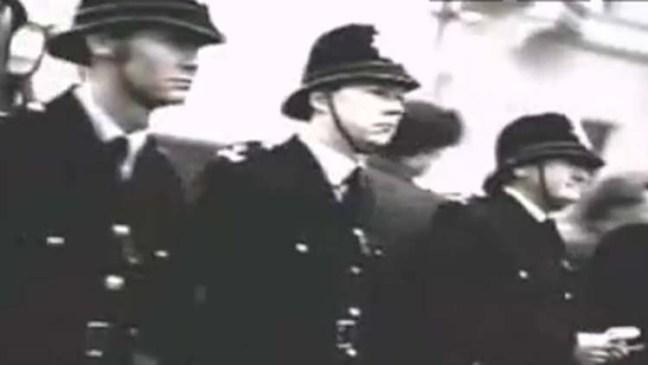 Policemen in a row