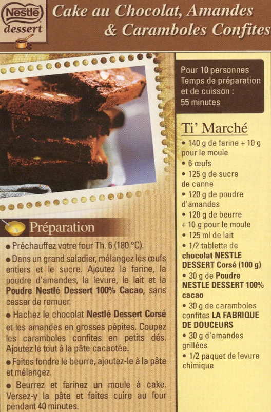 Gateau Au Chocolat Au Lait Nestlé : gateau, chocolat, nestlé, Chocolat,, Amandes, Caramboles, Confites, L'usage, Douceurs
