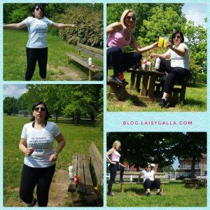 Isidora e Grazia, esercizi al parco