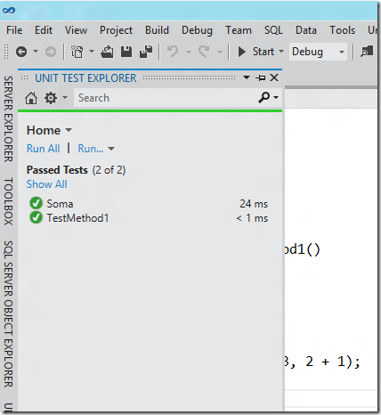 Unit Test Explorer com testes do NUnit