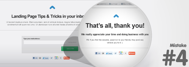 """Landing Page Mistake: Not using a customized """"Thank You"""" page"""