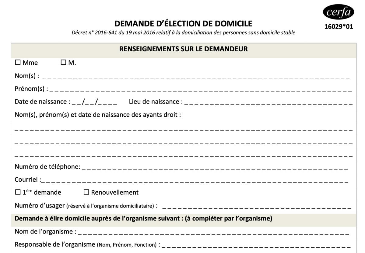 Election de domicile : nouveaux CERFA