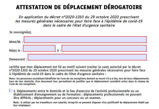 Nouveaux Modeles D Attestations De Deplacement Mise A Jour Au 29 Novembre 2020
