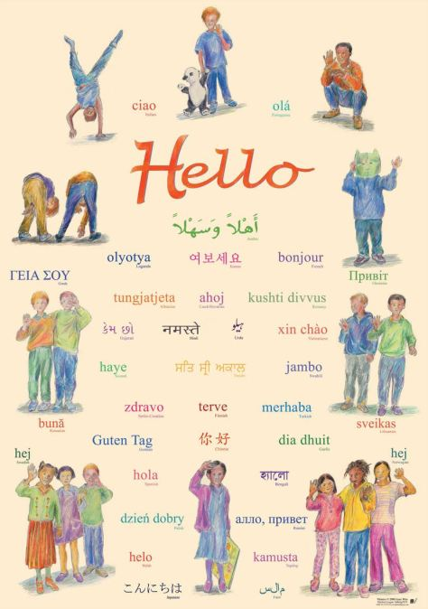 "Multilingual classroom poster that says ""Hello"""