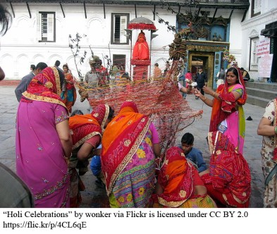 women preparing for holi celebration